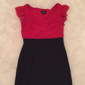 By By Red Chiffon Ruffle Pencil Business Dress, 9